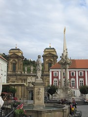 Fountain and column, Náměstí, main square of Mikulov, Czechia (Paul McClure DC) Tags: mikulov nikolsburg moravia morava czechia czechrepublic historic architecture aug2016 sculpture church jihomoravskýkraj břeclav