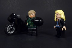 Let's go for a ride, Pretty Bird (MrKjito) Tags: lego minifig green arrow dc comics comic black canary oliver queen dinah lance bike ride motorcycle helmet super hero unmasked couple power star city cw
