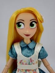 Adventure Rapunzel's in Designer Alice's Dress - Portrait Front View (drj1828) Tags: us disneystore doll purchase posable 10inch 2d deboxed designer heroesandvillains aliceinwonderland alice rapunzel disneyfairytaledesignercollection 2016 2017 swappedoutfits tangledtheseries adventure