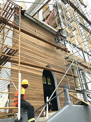 St. George's Cathedral Repairs #3 (*Amanda Richards) Tags: stgeorgescathedral cathedral guyana georgetown iphone7 repairs work menatwork greenheart lapedge shiplap tallestwoodenbuilding scaffolding hardhats gothic historic woodenbuilding