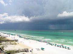 8-11 Fort Walton Beach & Gulf (megatti) Tags: beach clouds fl florida fortwaltonbeach gulf gulfofmexico shore sky storm thunderstorm umbrellas