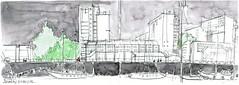 USK Lorient 2017, dimanche, en atendant le bateaux-bus (Croctoo) Tags: croctoo croquis croctoofr port lorient bateaux aquarelle watercolor