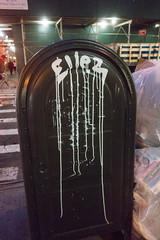 Ellez (UrbanphotoZ) Tags: ellez night mailbox graffiti drips dripping scaffolding constructionsite plywood green fence bags garbage crate tribeca downtown minimalism manhattan newyorkcity newyork nyc ny