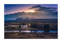 Enlightenment (Andreas Larzon Photography) Tags: andreaslarzon iceland house moody sunray sun blue river stream countryside cabin continentalplate church sigma1835mmf18a nikond7200 mountain soft travel snapshot cloudy clouds dark magenta mystery dreamy þingvellirnationalpark
