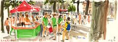 170611 Rabastens Da Took'Ba (Vincent Desplanche) Tags: rabastens tarn occitanie unisens datookba batucada festival croquis sketch sketchbook seawhiteofbrighton seawhitesketchbook carandache neocolor neocolorii watercolor aquarelle carnet