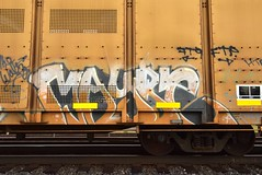 MAYBE (TheGraffitiHunters) Tags: graffiti graff spray paint street art colorful freight train tracks rolling canvas painted steeel autoracks racks maybe ribbet