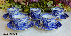 Royal Crown Derby Porcelain Cups & Saucers Blue Mikado Cobalt White Gold (Donna's Collectables) Tags: royal crown derby porcelain cups saucers blue mikado cobalt white gold
