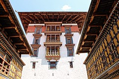 Front of a monastery in Bhutan