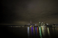 Lakeshine (aerojad) Tags: eos canon 80d dslr 2017 city urban toronto canada vacation travel wanderlust longexposure slowshutter night nightphotography lighttrails cityscape cntower colorful lakeontario clouds reflection reflections streetlight