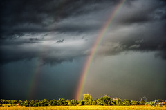 Dark vs Light Double Rainbow (txaggie321) Tags: storm texas weather rain clouds field trees grass sonya9 sigmamc11 canon2470mmf28l rainbow doublerainbow