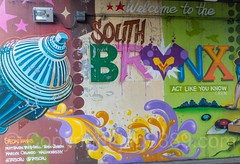 """Detail of """"Welcome to the South Bronx"""" Mural, New York City (jag9889) Tags: 2017 20170603 allamericacity bronx detail firehydrant graffiti mural music ny nyc newyork newyorkcity outdoor painting player southbronx streetart tagging tatscru thebronx usa unitedstates unitedstatesofamerica wall welcome jag9889 us brucknerboulevard colorful motthaven oneway sign traffic underpass brucknerexpressway"""