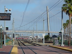 BNSF San Diego Railyard from Gaslamp Quarter Station (Rubén HPF) Tags: san diego sunset ocean pacific beach tide pool cabrillo gaslamp quarter santa fe depot trolley