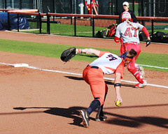 1. 3b Annie Fleming tosses to first (RPahre) Tags: annakirk firstbase softball universityofillinois illinois urbana eichelbergerfield theohiostateuniversity ohiostate ohiostateuniversity osu b1g bigten anniefleming baserunner