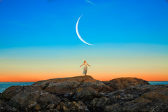 Nightcall (Lichon photography) Tags: lichonphotography tumblr summer moon landscape britishcolumbia canada canadian victoria ocean sea woman girl female sunset sky standing dress rocks beauty arms out barefoot
