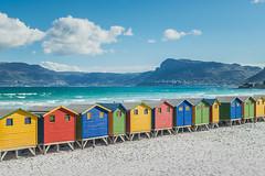 Muizenberg colors... (crispin52) Tags: capetown muizenberg sea ocean mountains colos cabins sand nature nikon