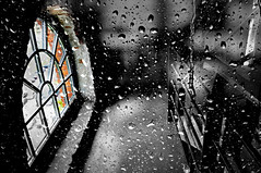 Then I looked at the window ..... (Eggii) Tags: multipleexposure bw mono project window rain drops 365