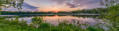 So much sunset to see (tquist24) Tags: elkhartriver goshen goshendampond hdr indiana nikon nikond5300 blue clouds evening geotagged longexposure orange panorama panoramic reflection reflections river sky sunset tree trees water unitedstates
