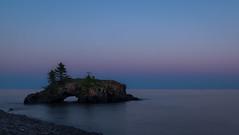 Simplicity (Paul Domsten) Tags: lakesuperior hollowrock grandportage pentax longexposure pink blue seaarch trees water minnesota rocks beach sigma dusk greatlakes
