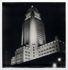 L.A. City Hall 13 (tobysx70) Tags: the impossible project tip polaroid sx70 sonar px100uv px 100 uv silver shade black white bw instant film impossaroid la city hall east temple street dtla downtown los angeles california ca night nocturnal lit floodlit illuminated skyscraper highrise government office building toby hancock photography