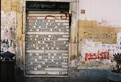 Copenhagen / Puglia (thomasleech89) Tags: ektar 100 pentax me super mamiyasekor f18 55mm street italy graffiti door doorway texture resist brick exposed derelict