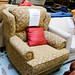 Large gold wing armchair E160