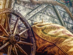 Ready to Move West! (clarkcg photography) Tags: wagon wagonwheel burlap burlapbag boards weathered texture grit aged texturaltuesday