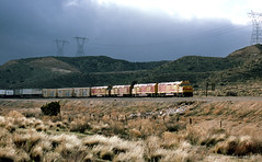 Out of the Darkness (GRNDMND) Tags: trains railroads santafe atsf spsf kodachrome locomotive emd f45u fp45u cajonpass summitvalley california