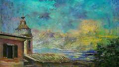 Paysage méditerranéen (jeanfenechpictures) Tags: paysage landscape mediterranée eglise church maison house nuages clouds textures peinture draw painting arbre tree mer sea montagnes montains