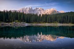 Sunrise at Carezza Lake (jbhphoto21) Tags: mountains lake reflections dolomites southtyrol italy karersee carezza