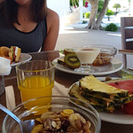 Honors student Taylor Chock-Wong poses with her Greek breakfast at the resort in Samos.