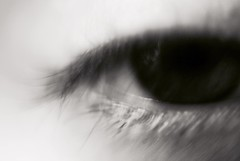 Blurry Eye 7 (Callums art) Tags: selfportrait portrait self myself me fineart surreal abstract dslr sony focus blurred blurry blur overexposed bright light monochromatic monochrome mono macro closeup eyelash pupil iris eyes eye edited filter photoshop