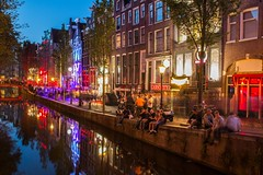 Amsterdam Red Light District (Johannes R.) Tags: amsterdam red light redlight district quarter netherlands dutch holland river sewer reflection night blue hour color colour colorful colourful lights sign lamp people prostitute long exposure canon 70d water