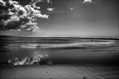 Le marcheur solitaire (vedebe) Tags: humain people mer ocean bretagne sable plage nuages noiretblanc netb nb bw monochrome paysages