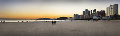 Haeundae beach in winter (Sacule) Tags: 해운대해수욕장 heundae beach beautiful busan southkorea pasted panoramic panorama pano asia sand winter wide canon 600d sigma1770 raw east sunset buildings city coast sea seascape mar