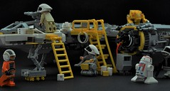 The Ground Crew (Inthert) Tags: lego star wars moc ground crew droid pilot ship maintenance technician rebel alliance gnk astromech load lifter ladder cable
