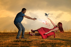 Amores que matan. NO A LA VIOLENCIA DE GÉNERO (https://katalan46.wixsite.com/fotografia) Tags: man woman people afternoon fall sky cielo hombre mujer bird pajaro fuego fire blood sangre shot gun orange dress red pretty girl boy campo forest summer verano violence dark photo art conceptual clouds nubes couple genderviolence sunset atardecer goldenhour flash nikond3300 kill love