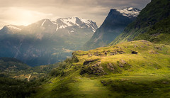 Mountain Cabins (andreassofus) Tags: mountain mountainscape landscape grandlandscape nature light sunlight norway outdoor hike hiking snow sky summer summertime grass green canon visitnorway travel travelphotography