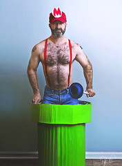 Super Mario (Philip Bonneau) Tags: mario supermario supermariobros videogame nintendo cosplay character8bit man male muscle daddy hairy italian hat suspenders jeans trashcan warppipe plunger indoors musclebear bear lgbt sexy