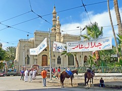 Égypte, derrière la grande Mosquée le parking des chevaux à Alexandrie (Roger-11-Narbonne) Tags: égypte alexandrie mer mosquée port ville