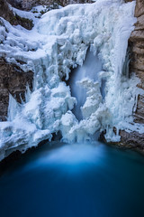 The Eye of the Beholder (robertdownie) Tags: canada landscape frozen winter spring water cold nature river blue rock long waterfall ice exposure frost canyon outdoors icicle alberta environment banff geology frosty melting