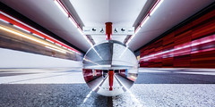 Playtime (katrin glaesmann) Tags: hamburg wartenau metro station ubahnhof ubahn tube train moving longexposure people red u1 crystalball gekugelt