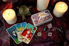 Tarot cards and candles (Cartomancienne) Tags: aceofswords candles cards crystalball dragon esoteric fortunetelling hermit incense magic magician magick mystic occult pagan pentacle pentagram tarot wicca witchcraft darlahallmark unitedstatesofamerica
