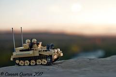 """Land of my sojourn"" (Connor Querin) Tags: lego cvrt british rac brickmania track links afv armoured vehicle armour armor 135 outdoors calgary skyline evening colour sky contrast recce striker"