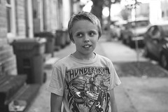 (patrickjoust) Tags: 6x9 medium format 120 rangefinder 90mm f35 fujinon lens black white bw c41 process film blancoynegro schwarzundweiss blancetnoir manual focus analog mechanical patrick joust patrickjoust baltimore maryland md usa us united states north america estados unidos urban city people person boy kid thunderskate shirt sidewalk portrait