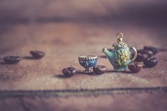 story around coffee time (Ayeshadows) Tags: 52 still life coffee story beans macro teapot teacup minimalism mini