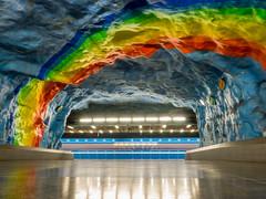 Stadion (Jens Haggren) Tags: stadion metro subway underground train rainbow lights reflections stockholm sweden