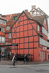 Red half-timbered building in Grønnegade (stephengg) Tags: denmark copenhagen red halftimbered half timbered building house grønnegade