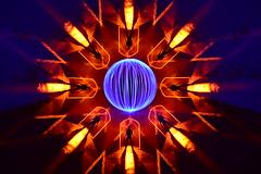 Nucleus. (martbarras) Tags: martbarras lightpainting lpuk lpwa ball of light tools rotation shoreham brighton wales llanberis orbs doorways orange blue nikon d7100 tokina 1116mm nucleus no photoshop one exposure sooc
