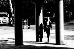 Walking in Stockholm (andersåkerblom) Tags: monochrome woman walking urban streetphotography street blackandwhite
