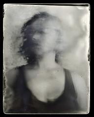 mixed (biancavanderwerf) Tags: film filmisnotdead dryplate glass analoog analog analogue silver gelatin movement selfie selfportrait self woman portrait blackandwhite bw mono expression